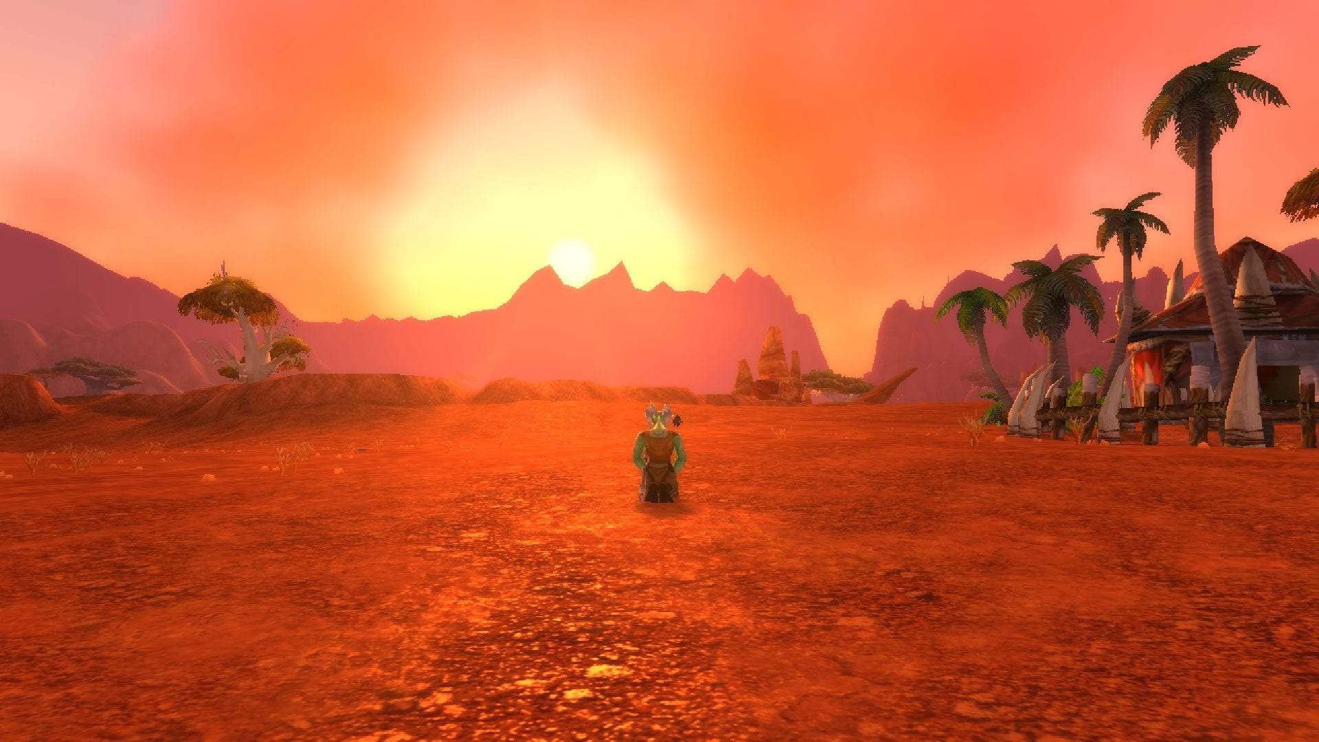"alt=""wow classic pre-launch test extended sunset in durotar""/>"